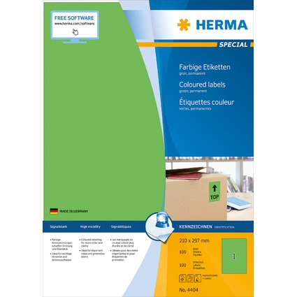 HERMA Universal-Etiketten SPECIAL, 210 x 297 mm, grün