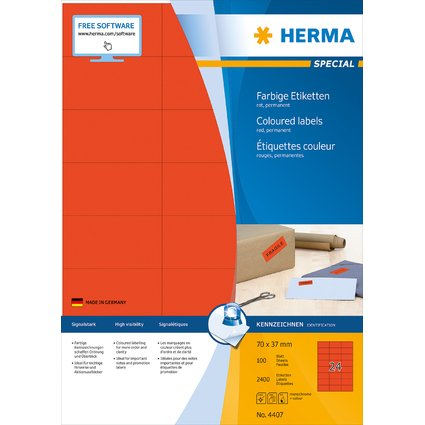 HERMA Universal-Etiketten SPECIAL, 70 x 37 mm, rot