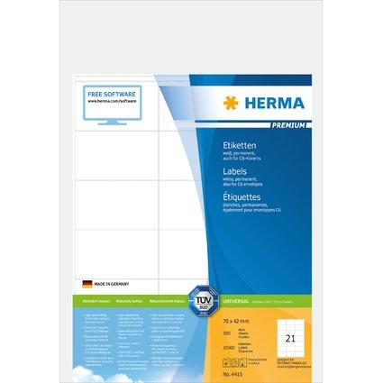 HERMA Universal-Etiketten PREMIUM, 70 x 42 mm, weiß