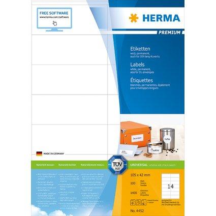 HERMA Universal-Etiketten PREMIUM, 105 x 42 mm, weiß