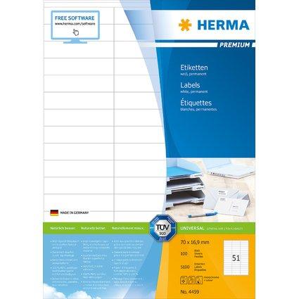 HERMA Universal-Etiketten PREMIUM, 70 x 16,9 mm, weiß