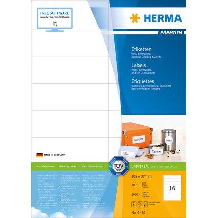 HERMA Universal-Etiketten PREMIUM, 105 x 37 mm, weiß