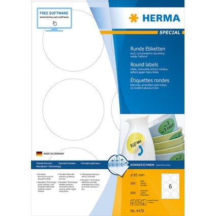 HERMA Universal-Etiketten SPECIAL, Durchmesser 85 mm, weiß