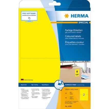 HERMA Universal-Etiketten SPECIAL, 199,6 x 143,5 mm, gelb