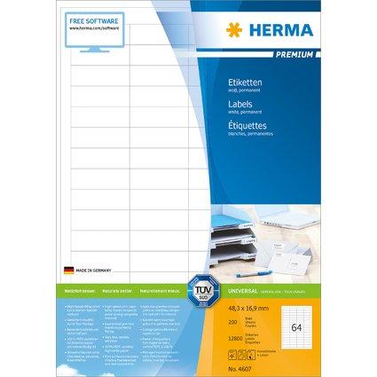 HERMA Universal-Etiketten PREMIUM, 48,3 x 16,9 mm, weiß