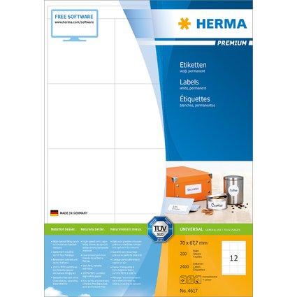 HERMA Universal-Etiketten PREMIUM, 70 x 67,7 mm, weiß