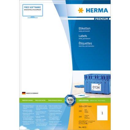 HERMA Universal-Etiketten PREMIUM, 210 x 297 mm, weiß