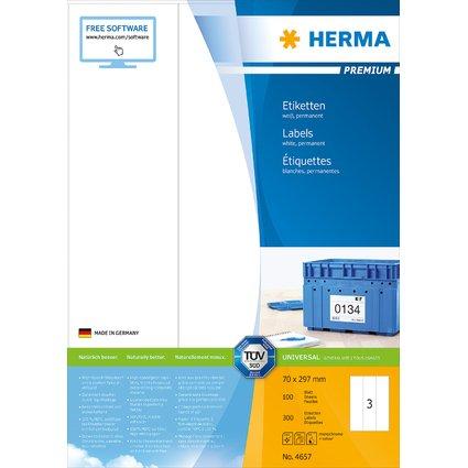 HERMA Universal-Etiketten PREMIUM, 70 x 297 mm, weiß