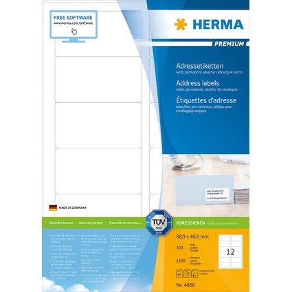 HERMA Universal-Etiketten PREMIUM, 88,9 x 46,6 mm, weiß