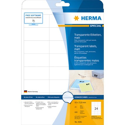 HERMA Folien-Etiketten SPECIAL, 66 x 33,8 mm, transparent