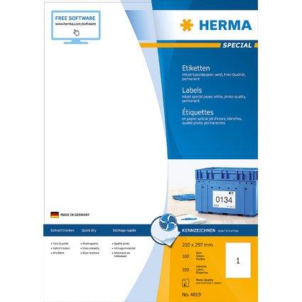 HERMA Inkjet-Etiketten SPECIAL, 210 x 297 mm, weiß