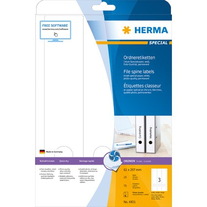 HERMA Ordnerrücken-Etiketten SPECIAL, 297 x 61 mm, weiß
