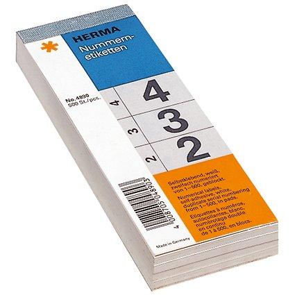 HERMA Nummernblock, selbstklebend, 28 x 56 mm, weiß