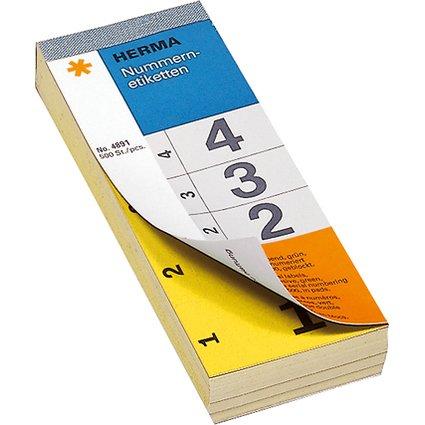 HERMA Nummernblock, selbstklebend, 28 x 56 mm, gelb
