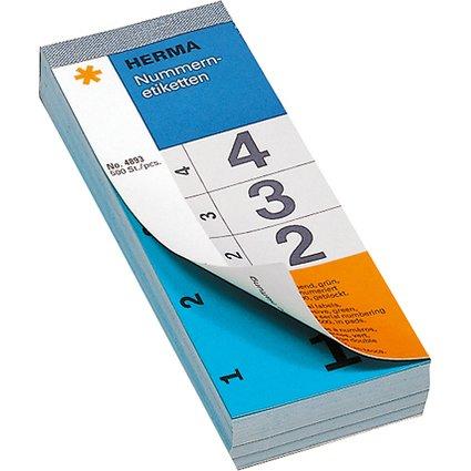 HERMA Nummernblock, selbstklebend, 28 x 56 mm, blau