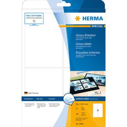 HERMA Hochglanz-Etiketten SPECIAL, 96,0 x 139,7 mm, weiß