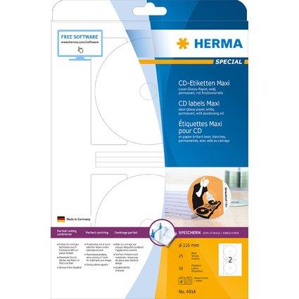 HERMA CD/DVD-Etiketten Maxi SPECIAL, weiß, glänzend