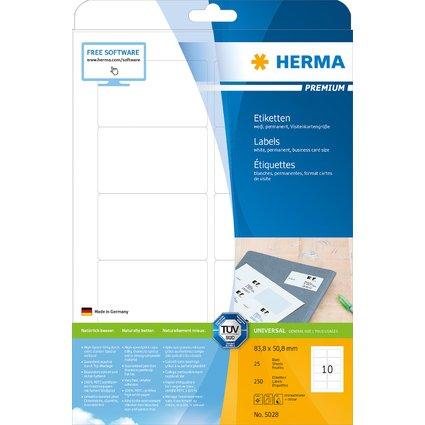 HERMA Universal-Etiketten PREMIUM, 83,8 x 50,8 mm, weiß