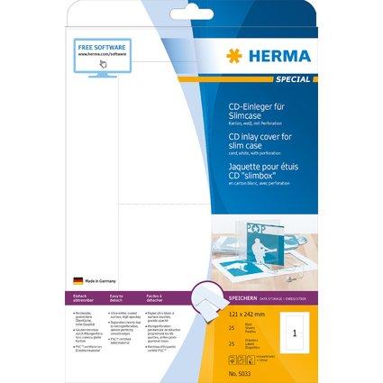 HERMA CD-Einleger, 121,0 x 242,0 mm, Karton, weiß