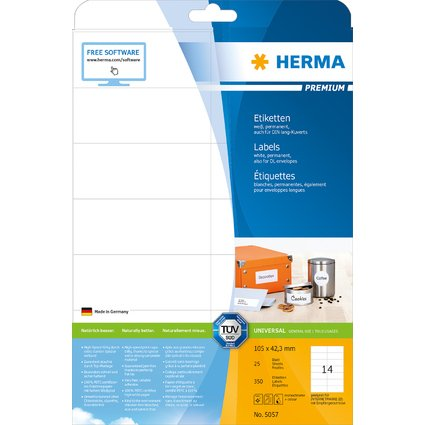 HERMA Universal-Etiketten PREMIUM, 105 x 42,3 mm, weiß