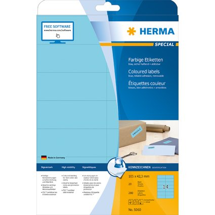 HERMA Universal-Etiketten SPECIAL, 105 x 42,3 mm, blau