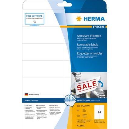 HERMA Universal-Etiketten SPECIAL, 105 x 42,3 mm, weiß