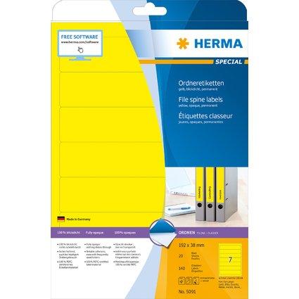 HERMA Ordnerrücken-Etiketten SPECIAL, 192 x 38 mm, gelb