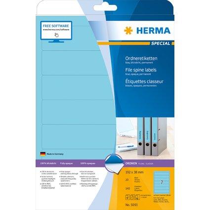 HERMA Ordnerrücken-Etiketten SPECIAL, 192 x 38 mm, blau