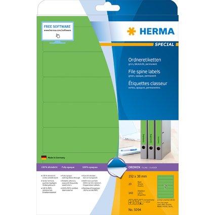 HERMA Ordnerrücken-Etiketten SPECIAL, 192 x 38 mm, grün