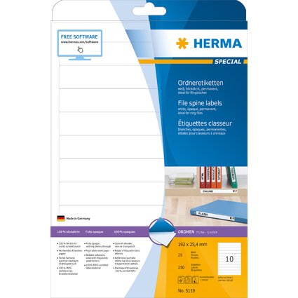 HERMA Ordnerrücken-Etiketten SPECIAL, 192 x 25,4 mm, weiß