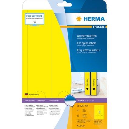 HERMA Ordnerrücken-Etiketten SPECIAL, 61 x 297 mm, gelb