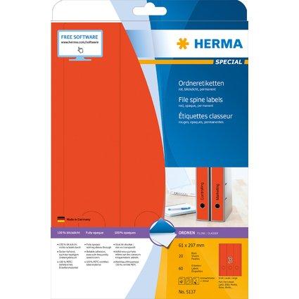 HERMA Ordnerrücken-Etiketten SPECIAL, 61 x 297 mm, rot