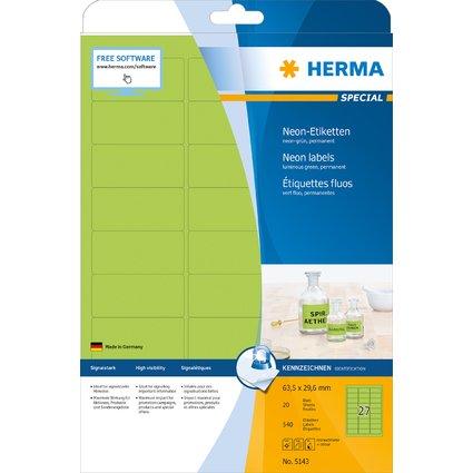 HERMA Universal-Etiketten SPECIAL, 63,5 x 29,6 mm, neon-grün