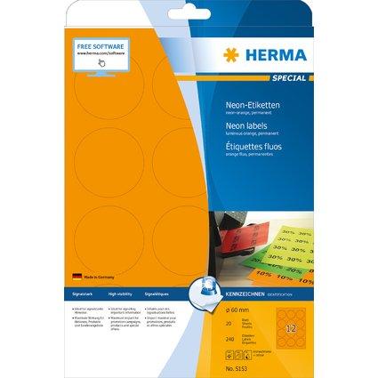 HERMA Universal-Etiketten SPECIAL, rund, 60 mm, neon-orange