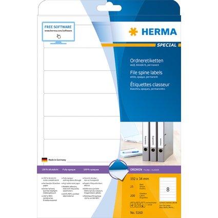 HERMA Ordnerrücken-Etiketten SPECIAL, 192 x 34 mm, weiß