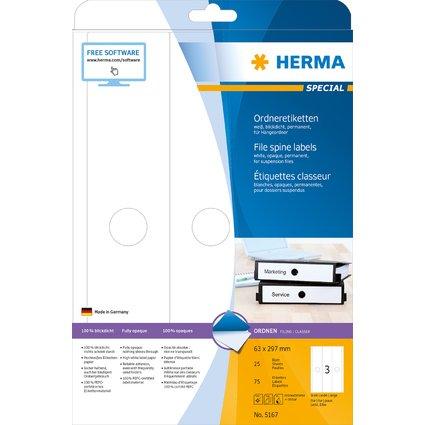 HERMA Ordnerrücken-Etiketten SPECIAL, 63 x 297 mm, weiß