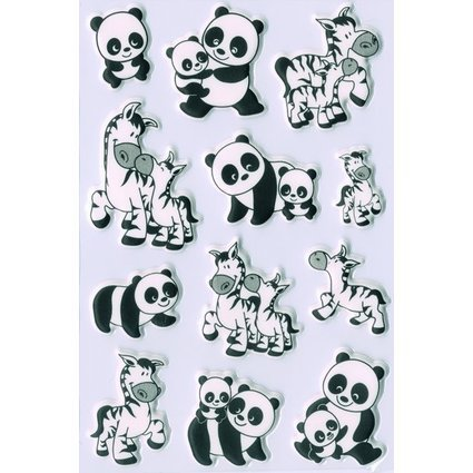 "HERMA Sticker MAGIC ""Panda- und Zebrafamilien"", Foam"