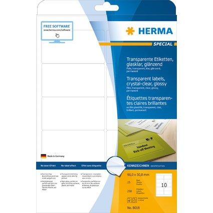 HERMA Folien-Etiketten SPECIAL, 96 x 50,8 mm, transparent