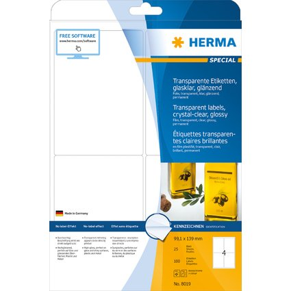 HERMA Folien-Etiketten SPECIAL, 99,1 x 139 mm, transparent