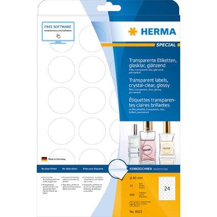 HERMA Folien-Etiketten SPECIAL, Durchm. 40 mm, transparent
