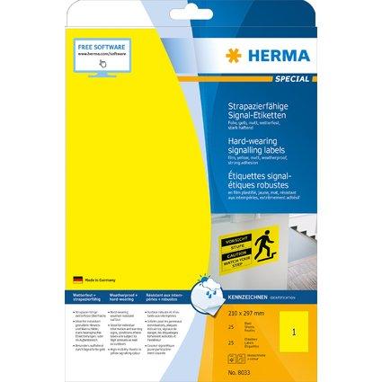HERMA Signal-Etiketten SPECIAL, 210 x 297 mm, gelb