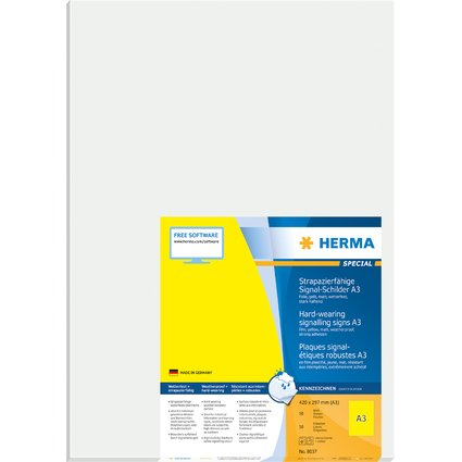 HERMA Signal-Etiketten SPECIAL, 420 x 297 mm, gelb