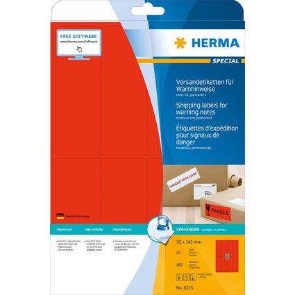 HERMA Versand-Etiketten SPECIAL, 50 x 142 mm, neon-rot