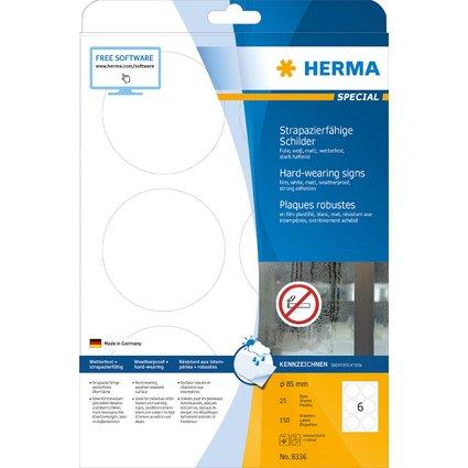 HERMA Folien-Etiketten SPECIAL, Durchmesser: 85 mm, weiß
