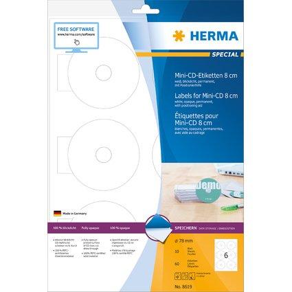 HERMA Mini CD/DVD-Etiketten SPECIAL, Durchmesser: 78 mm