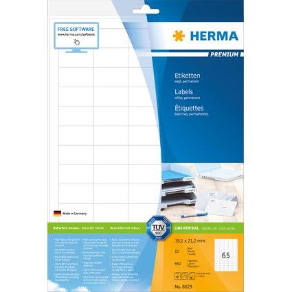 HERMA Universal-Etiketten PREMIUM, 38,1 x 21,2 mm, weiß