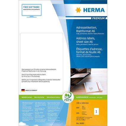 HERMA PREMIUM Universal-Etiketten, 105 x 148 mm, weiß