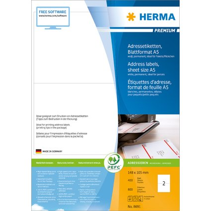 HERMA Universal-Etiketten PREMIUM, 148,5 x 105 mm, weiß
