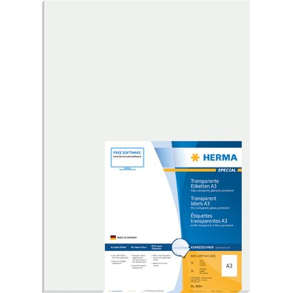 HERMA SuperPrint Etiketten A3, Folie, 297 x 420 mm,