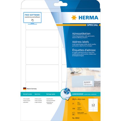 HERMA Inkjet-Etiketten SPECIAL, 88,9 x 46,6 mm, weiß